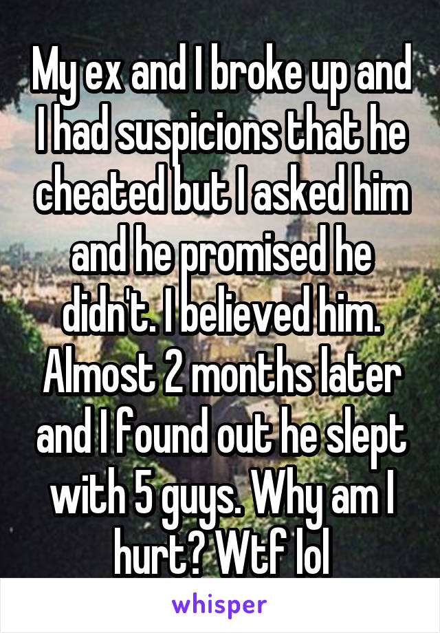 My ex and I broke up and I had suspicions that he cheated but I asked him and he promised he didn't. I believed him. Almost 2 months later and I found out he slept with 5 guys. Why am I hurt? Wtf lol
