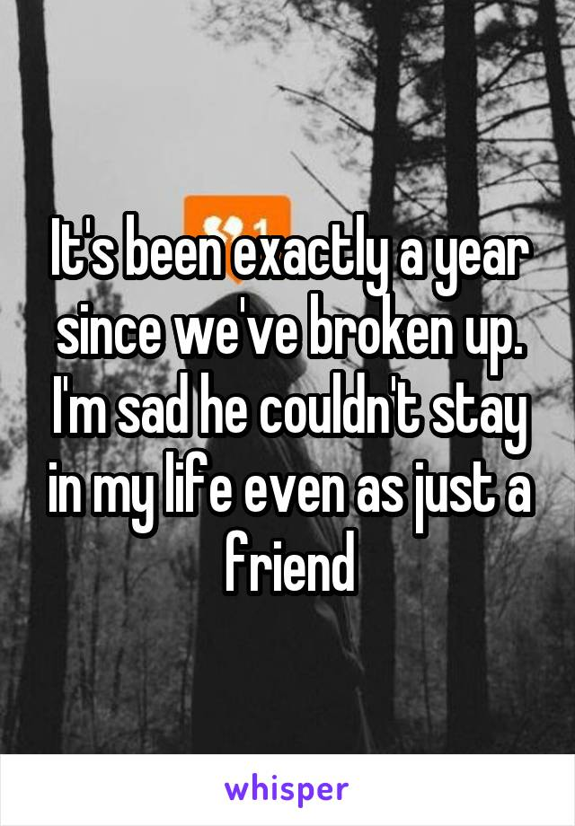 It's been exactly a year since we've broken up. I'm sad he couldn't stay in my life even as just a friend