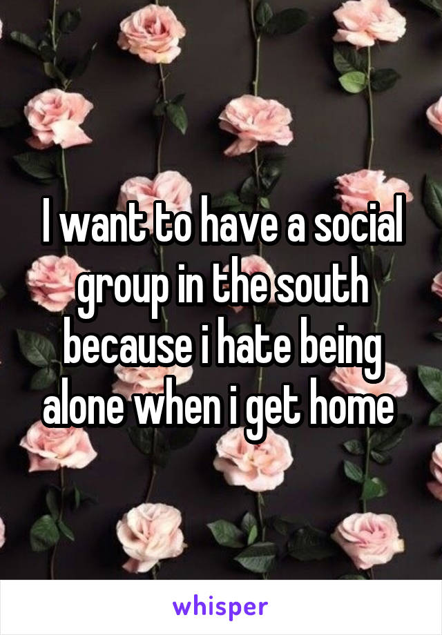 I want to have a social group in the south because i hate being alone when i get home