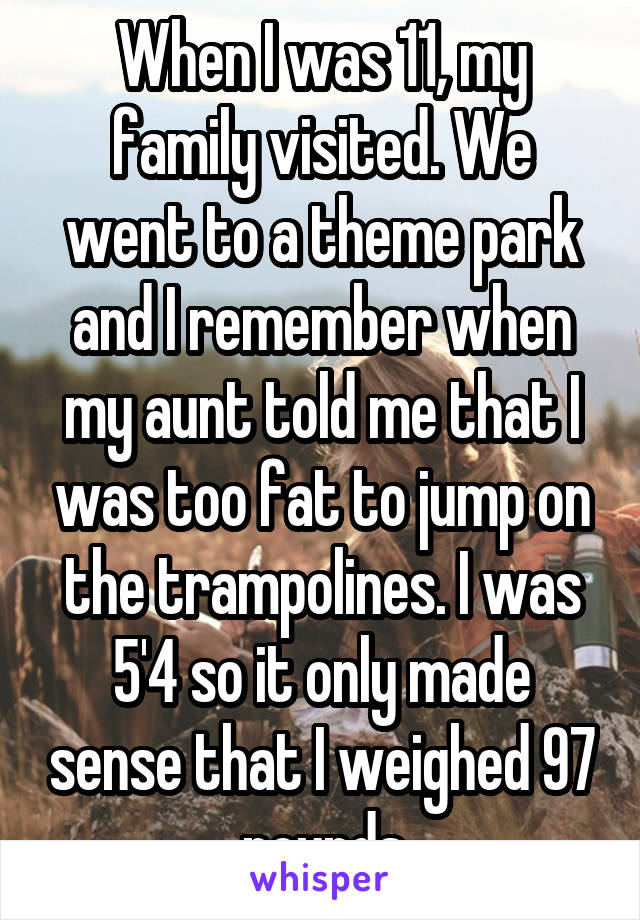 When I was 11, my family visited. We went to a theme park and I remember when my aunt told me that I was too fat to jump on the trampolines. I was 5'4 so it only made sense that I weighed 97 pounds