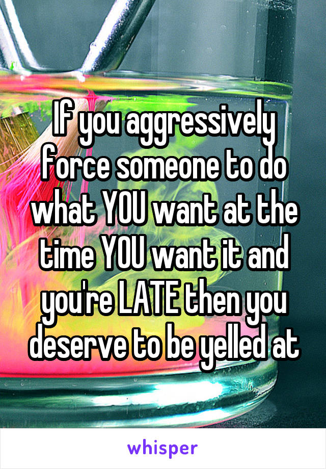 If you aggressively force someone to do what YOU want at the time YOU want it and you're LATE then you deserve to be yelled at