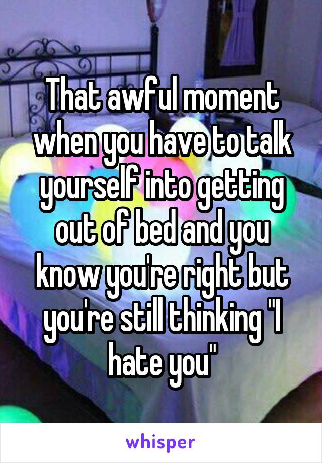 """That awful moment when you have to talk yourself into getting out of bed and you know you're right but you're still thinking """"I hate you"""""""