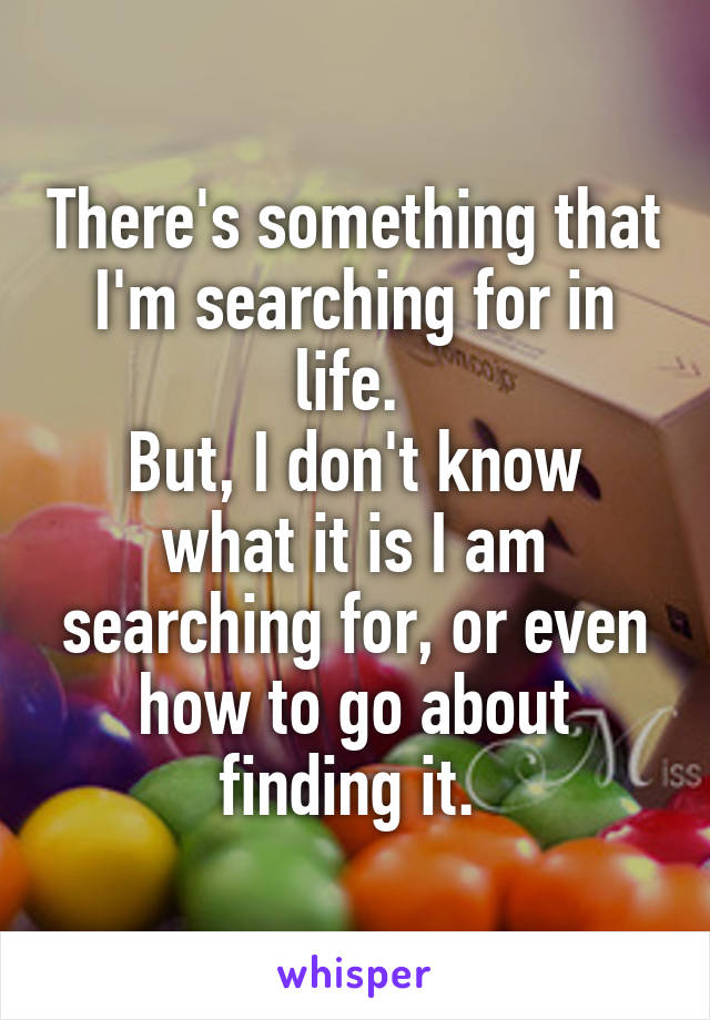 There's something that I'm searching for in life.  But, I don't know what it is I am searching for, or even how to go about finding it.