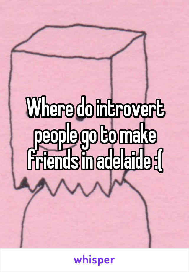Where do introvert people go to make friends in adelaide :(