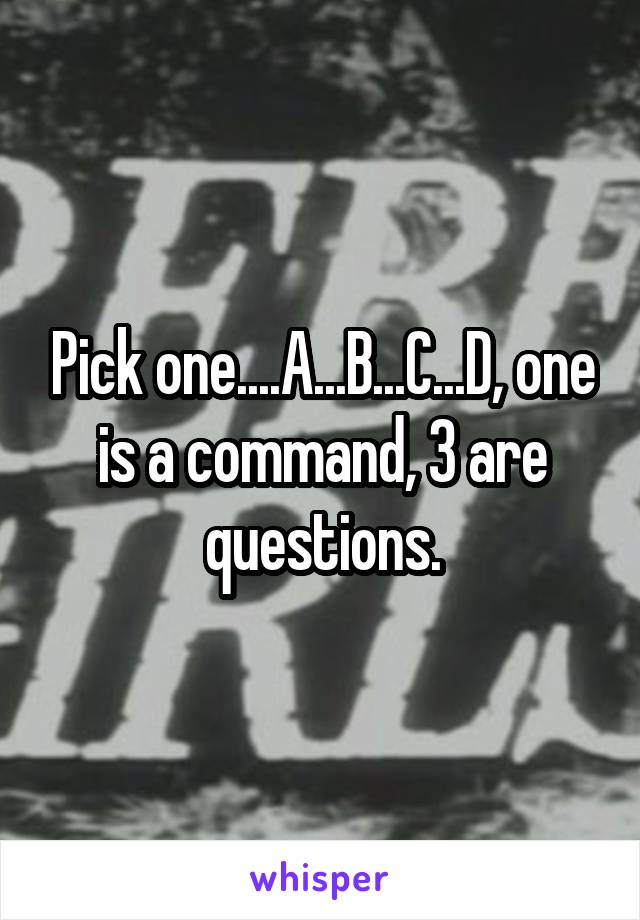 Pick one....A...B...C...D, one is a command, 3 are questions.