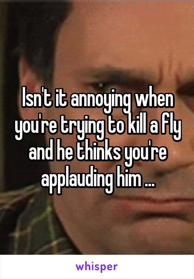 Isn't it annoying when you're trying to kill a fly and he thinks you're applauding him ...