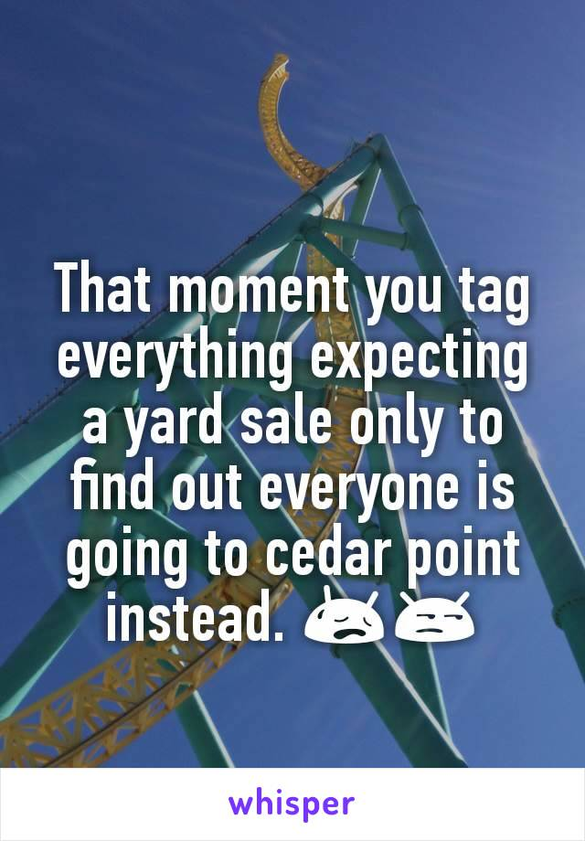 That moment you tag everything expecting a yard sale only to find out everyone is going to cedar point instead. 😥😒