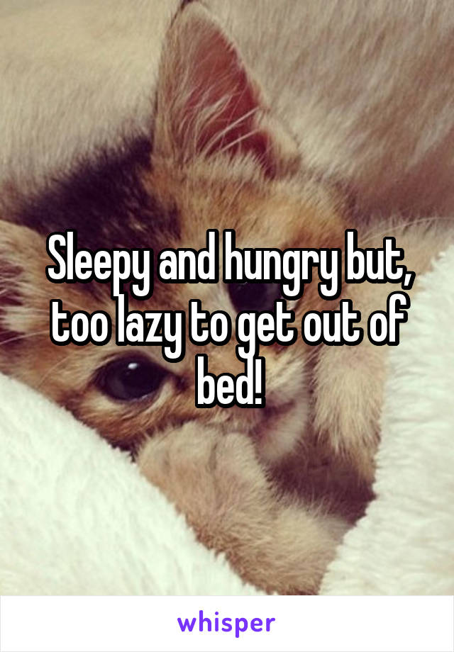 Sleepy and hungry but, too lazy to get out of bed!