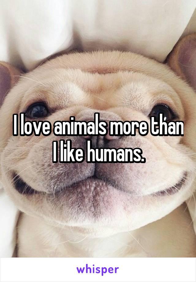 I love animals more than I like humans.