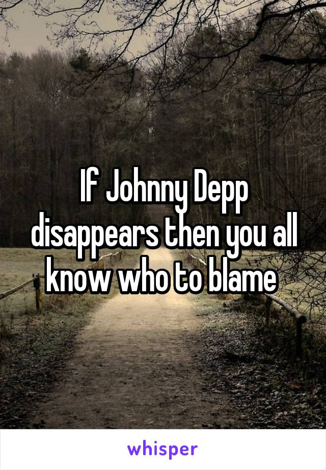 If Johnny Depp disappears then you all know who to blame