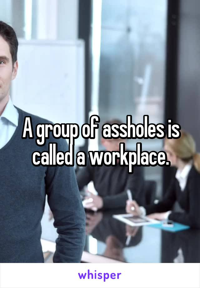 A group of assholes is called a workplace.