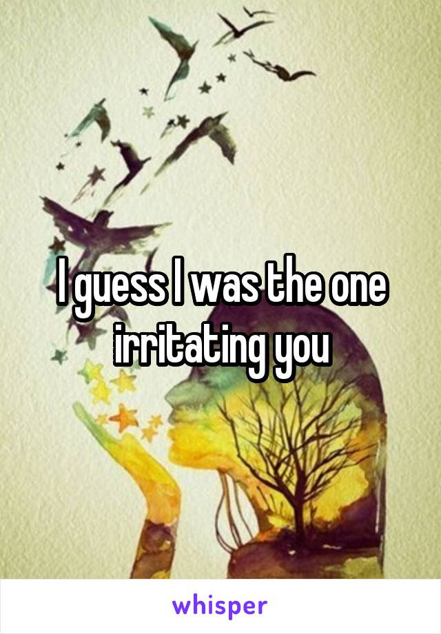 I guess I was the one irritating you