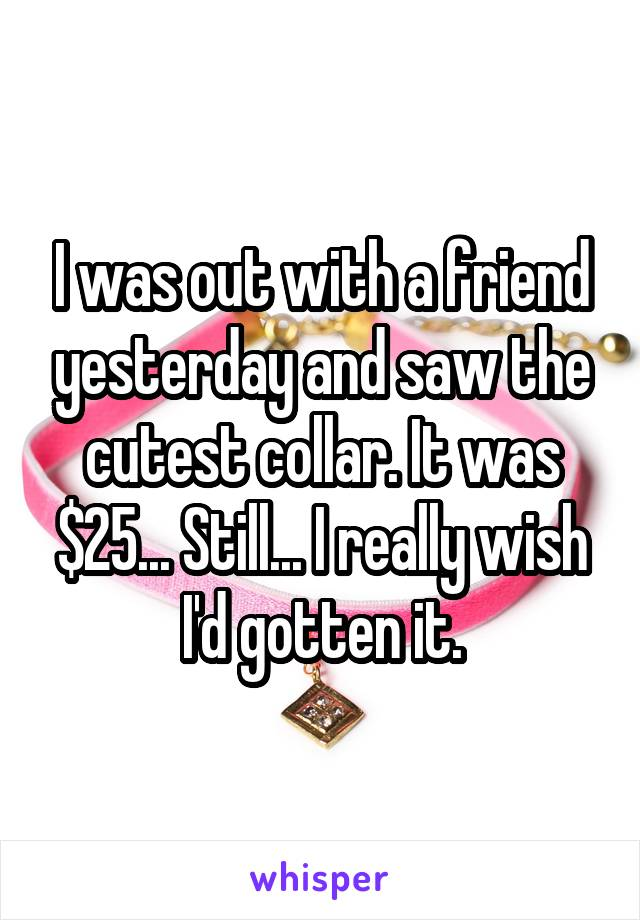 I was out with a friend yesterday and saw the cutest collar. It was $25... Still... I really wish I'd gotten it.