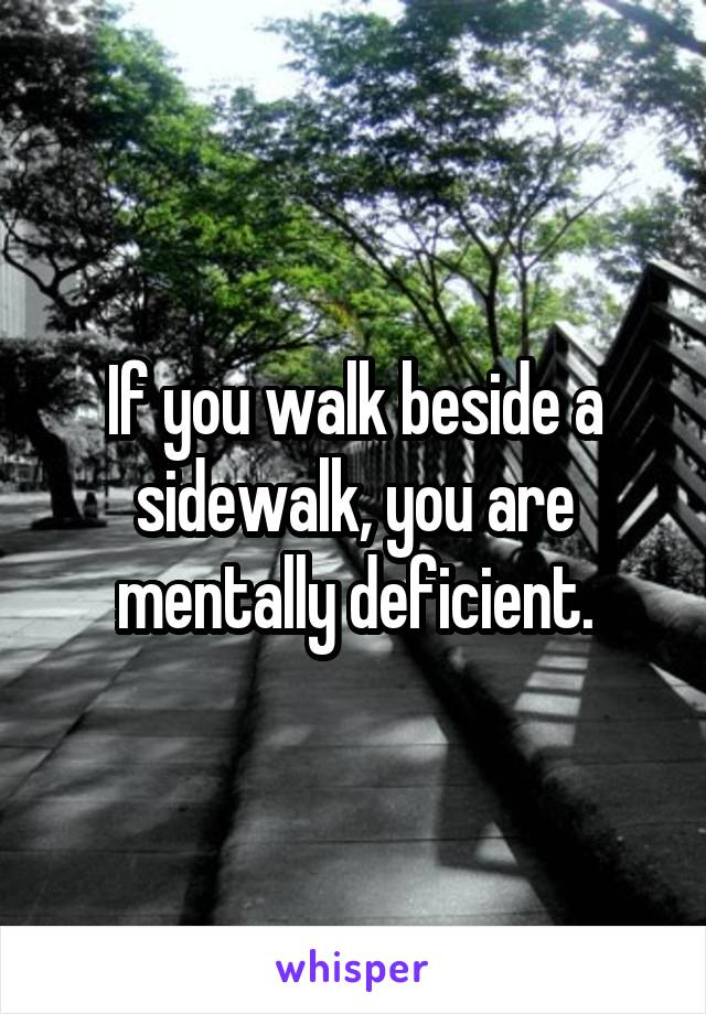 If you walk beside a sidewalk, you are mentally deficient.