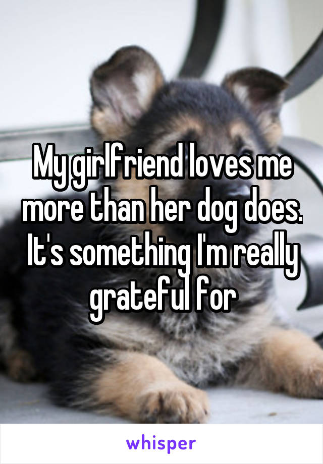 My girlfriend loves me more than her dog does. It's something I'm really grateful for