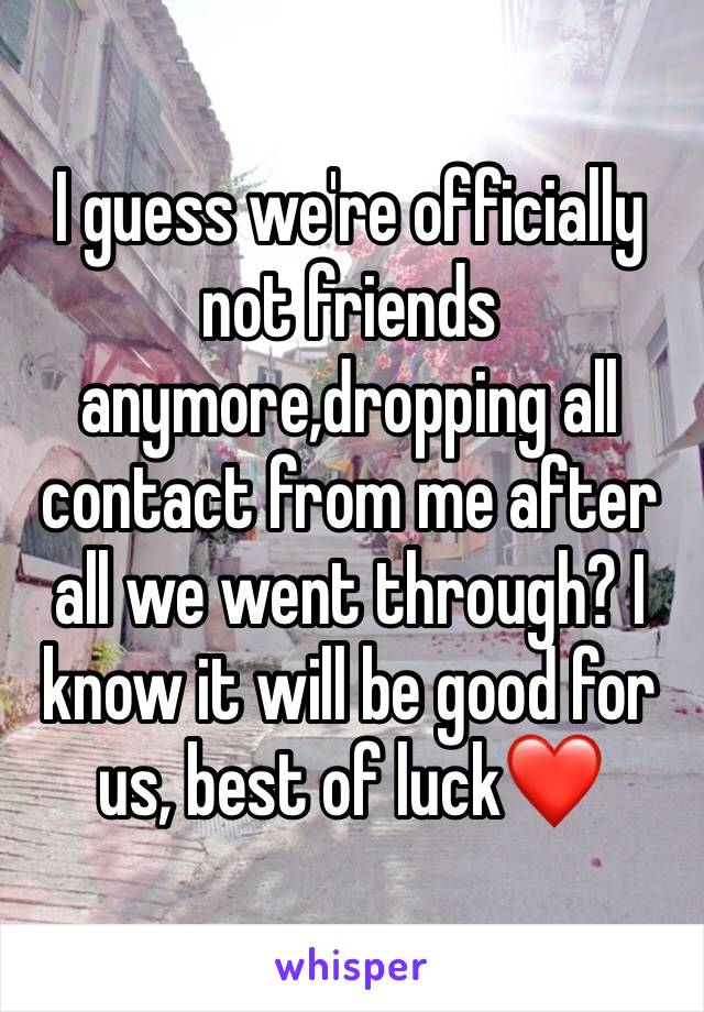 I guess we're officially not friends anymore,dropping all contact from me after all we went through? I know it will be good for us, best of luck❤️