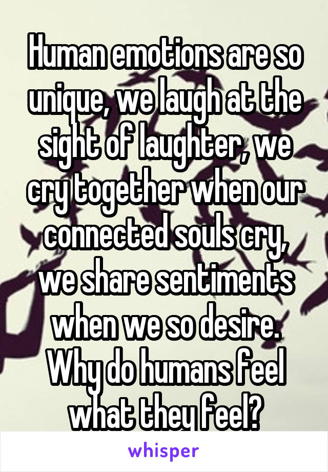 Human emotions are so unique, we laugh at the sight of laughter, we cry together when our connected souls cry, we share sentiments when we so desire. Why do humans feel what they feel?