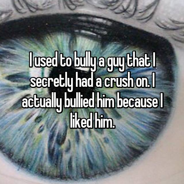 I used to bully a guy that I secretly had a crush on. I actually bullied him because I liked him.