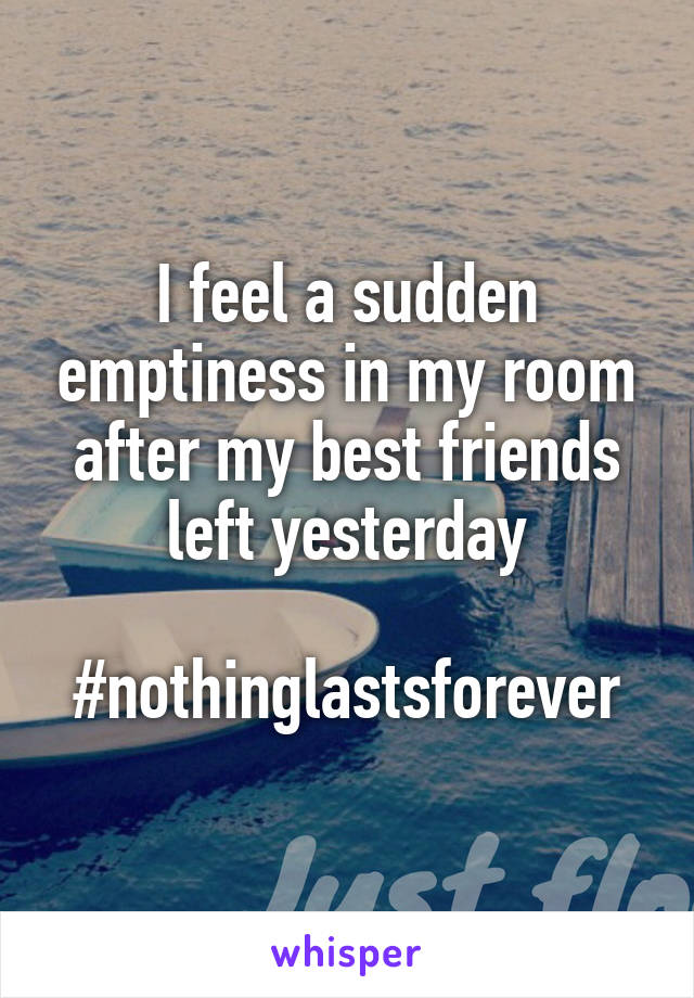I feel a sudden emptiness in my room after my best friends left yesterday  #nothinglastsforever