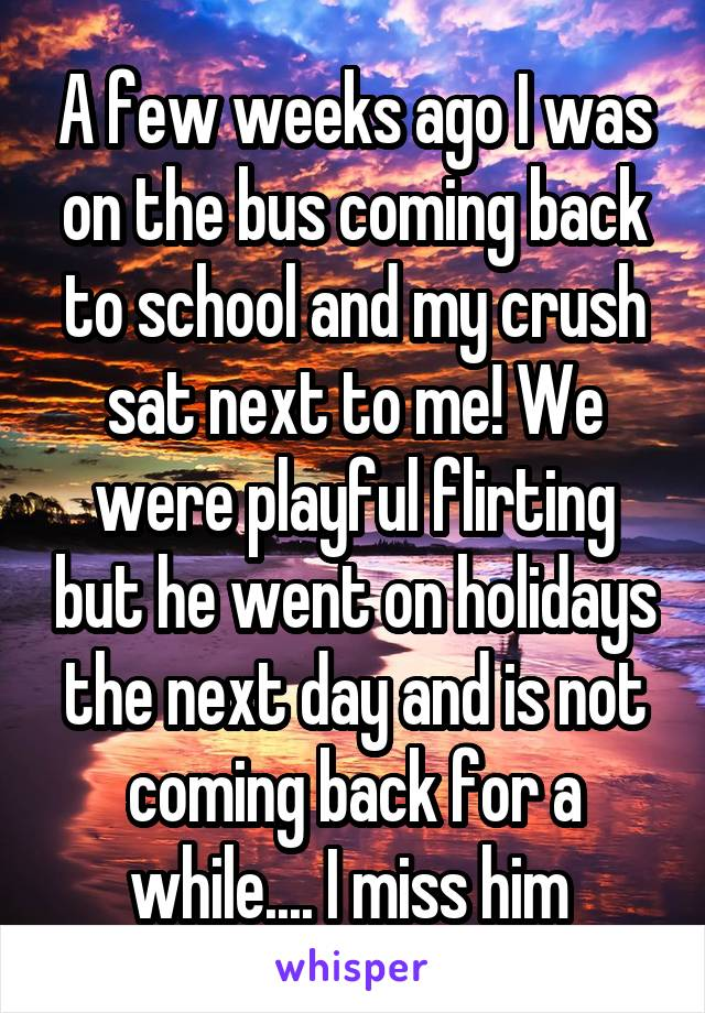 A few weeks ago I was on the bus coming back to school and my crush sat next to me! We were playful flirting but he went on holidays the next day and is not coming back for a while.... I miss him