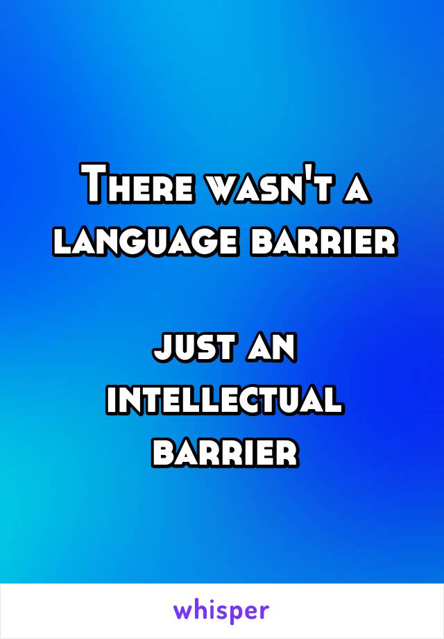 There wasn't a language barrier   just an  intellectual barrier