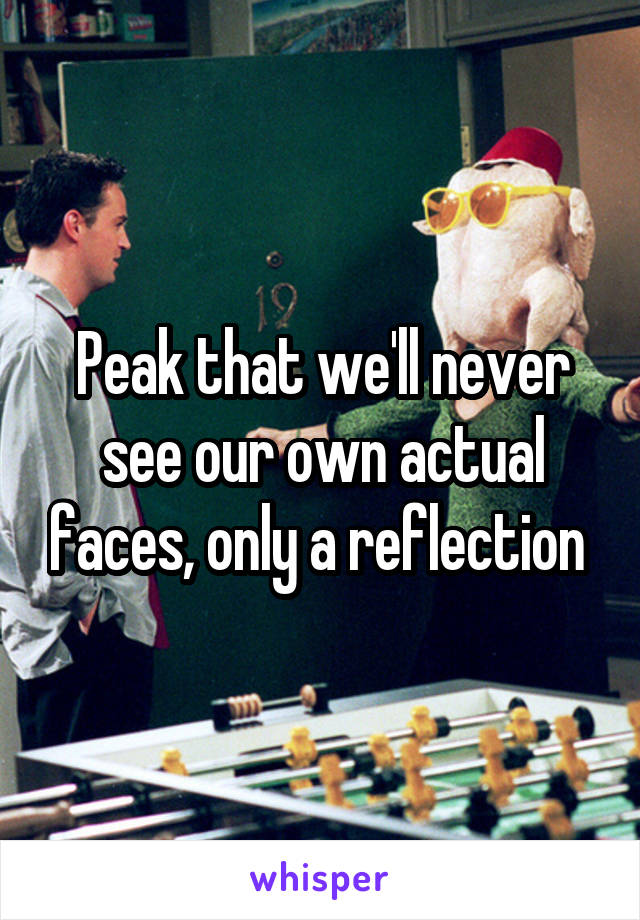 Peak that we'll never see our own actual faces, only a reflection
