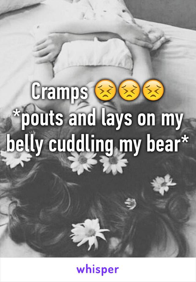 Cramps 😣😣😣 *pouts and lays on my belly cuddling my bear*