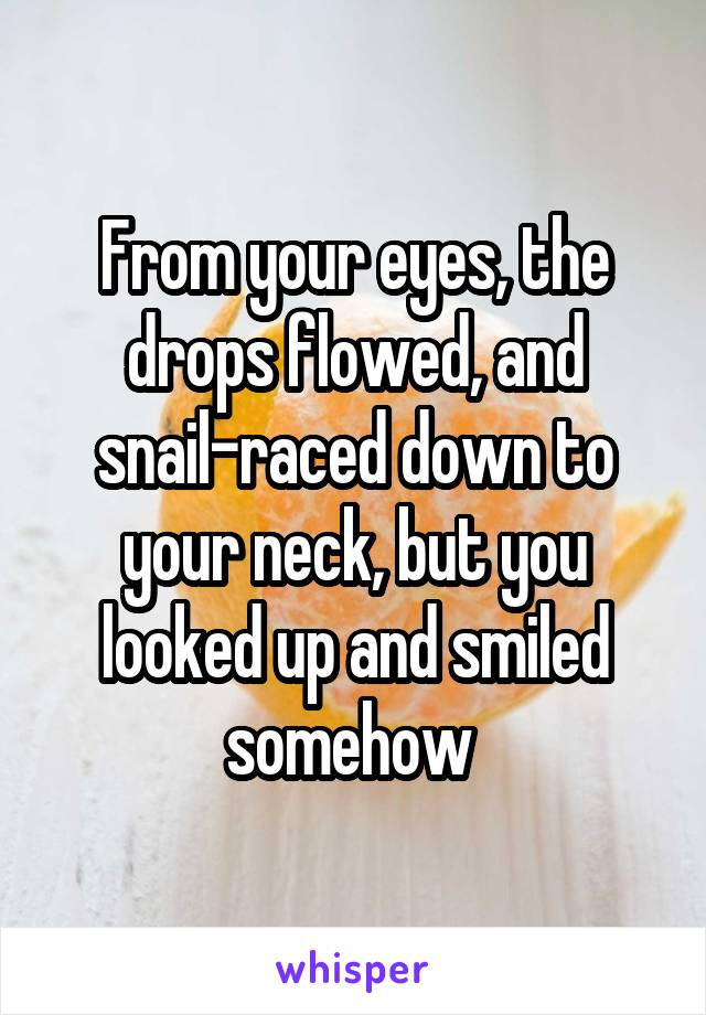 From your eyes, the drops flowed, and snail-raced down to your neck, but you looked up and smiled somehow