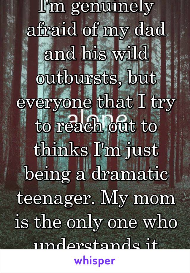 I'm genuinely afraid of my dad and his wild outbursts, but everyone that I try to reach out to thinks I'm just being a dramatic teenager. My mom is the only one who understands it because she's seen.