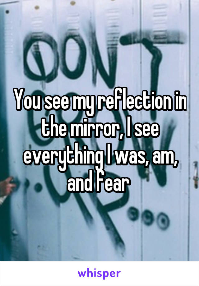 You see my reflection in the mirror, I see everything I was, am, and fear