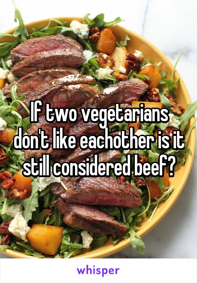 If two vegetarians don't like eachother is it still considered beef?