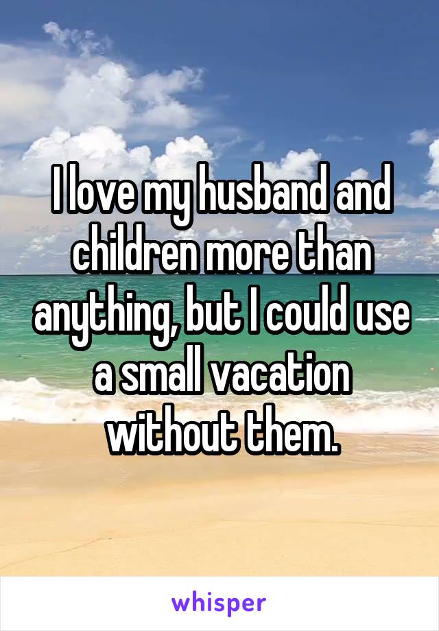 I love my husband and children more than anything, but I could use a small vacation without them.