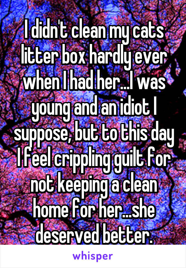 I didn't clean my cats litter box hardly ever when I had her...I was young and an idiot I suppose, but to this day I feel crippling guilt for not keeping a clean home for her...she deserved better.