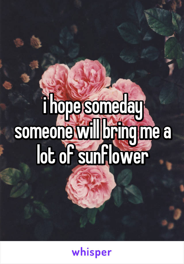 i hope someday someone will bring me a lot of sunflower