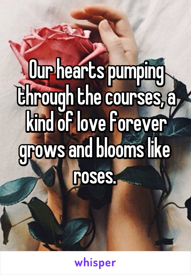 Our hearts pumping through the courses, a kind of love forever grows and blooms like  roses.