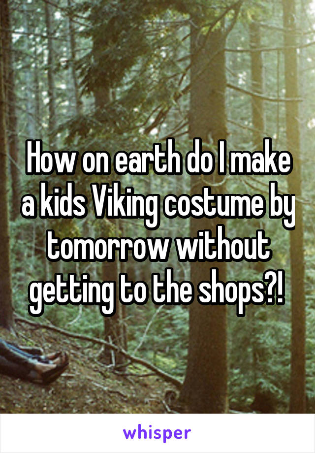 How on earth do I make a kids Viking costume by tomorrow without getting to the shops?!