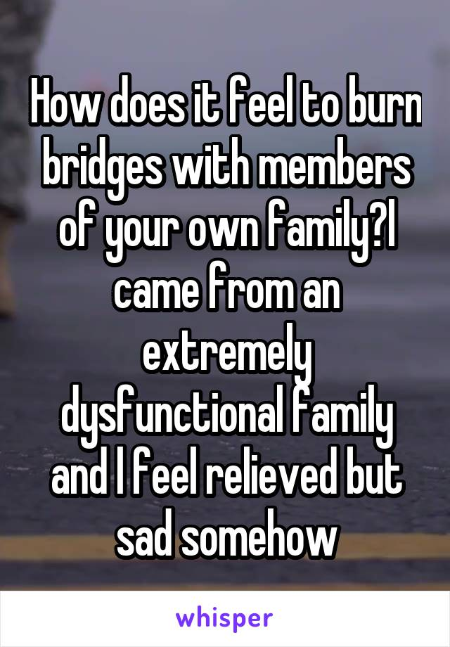 How does it feel to burn bridges with members of your own family?l came from an extremely dysfunctional family and l feel relieved but sad somehow