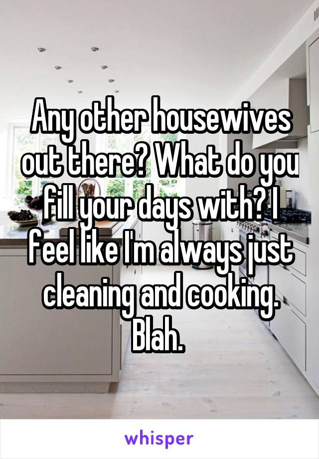 Any other housewives out there? What do you fill your days with? I feel like I'm always just cleaning and cooking. Blah.