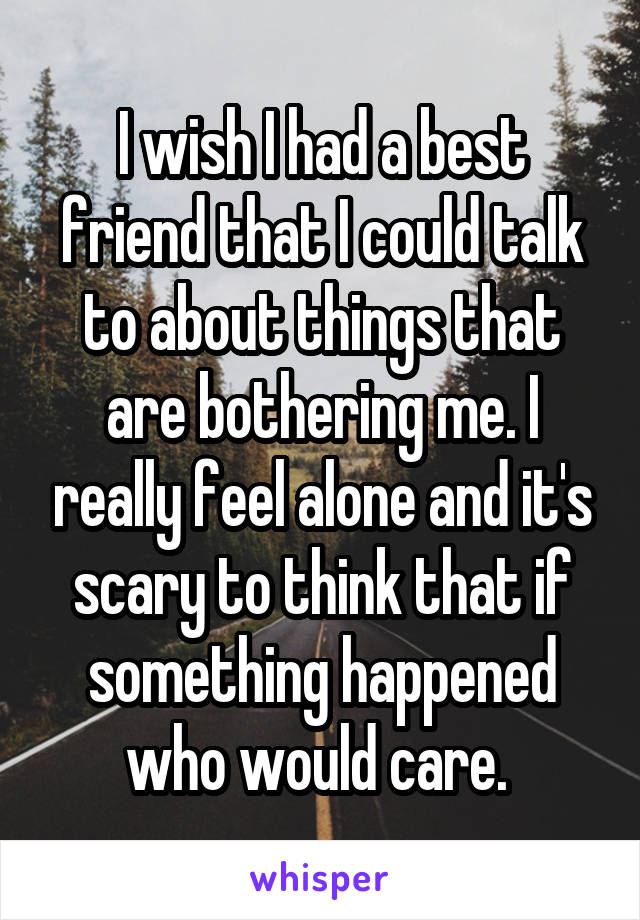 I wish I had a best friend that I could talk to about things that are bothering me. I really feel alone and it's scary to think that if something happened who would care.