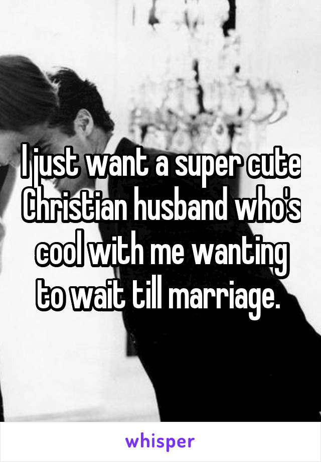 I just want a super cute Christian husband who's cool with me wanting to wait till marriage.