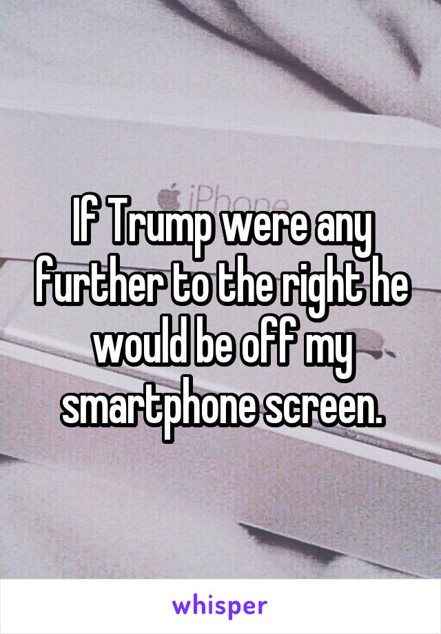 If Trump were any further to the right he would be off my smartphone screen.