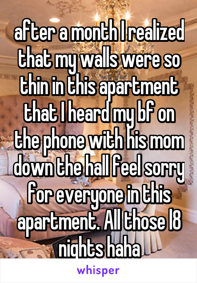after a month I realized that my walls were so thin in this apartment that I heard my bf on the phone with his mom down the hall feel sorry for everyone in this apartment. All those l8 nights haha