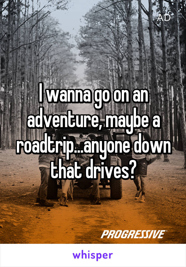 I wanna go on an adventure, maybe a roadtrip...anyone down that drives?
