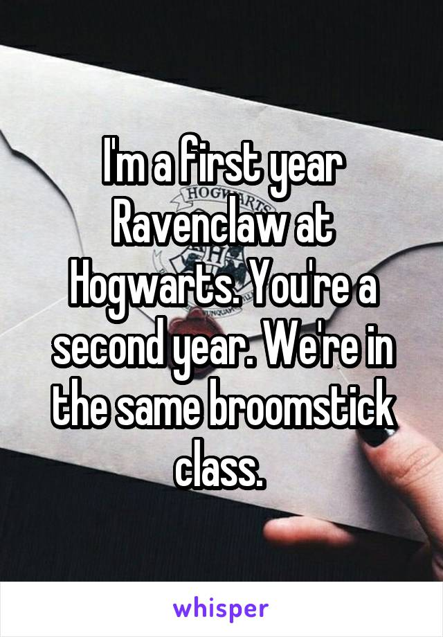 I'm a first year Ravenclaw at Hogwarts. You're a second year. We're in the same broomstick class.