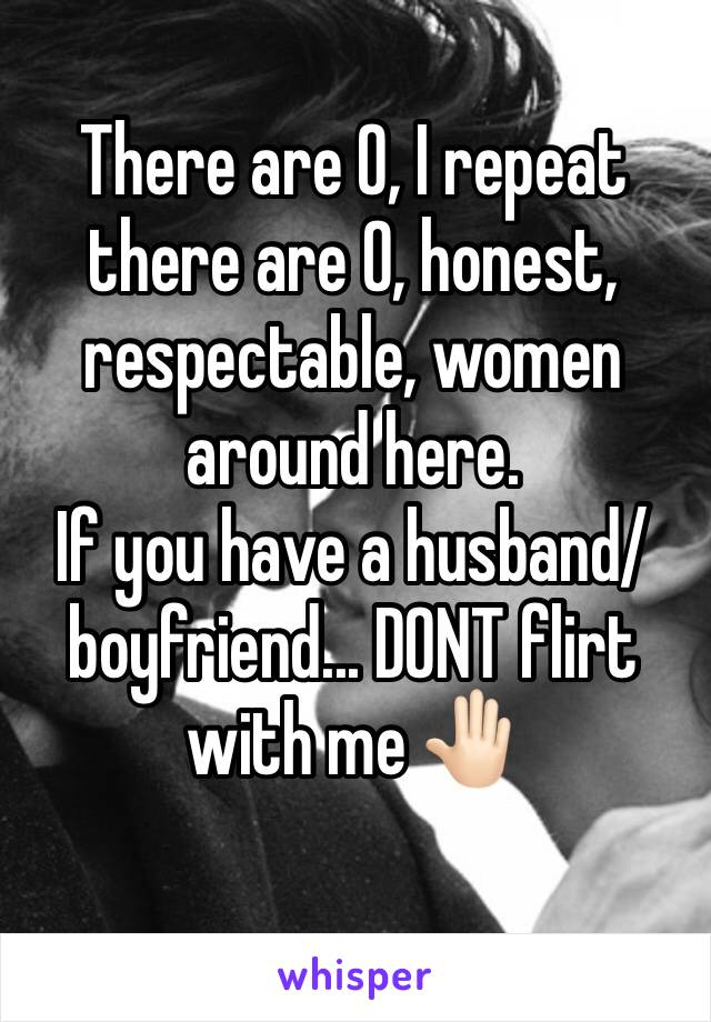 There are 0, I repeat there are 0, honest, respectable, women around here.  If you have a husband/boyfriend... DONT flirt with me 🤚🏻