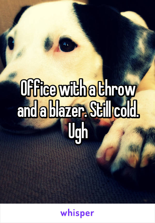 Office with a throw and a blazer. Still cold. Ugh