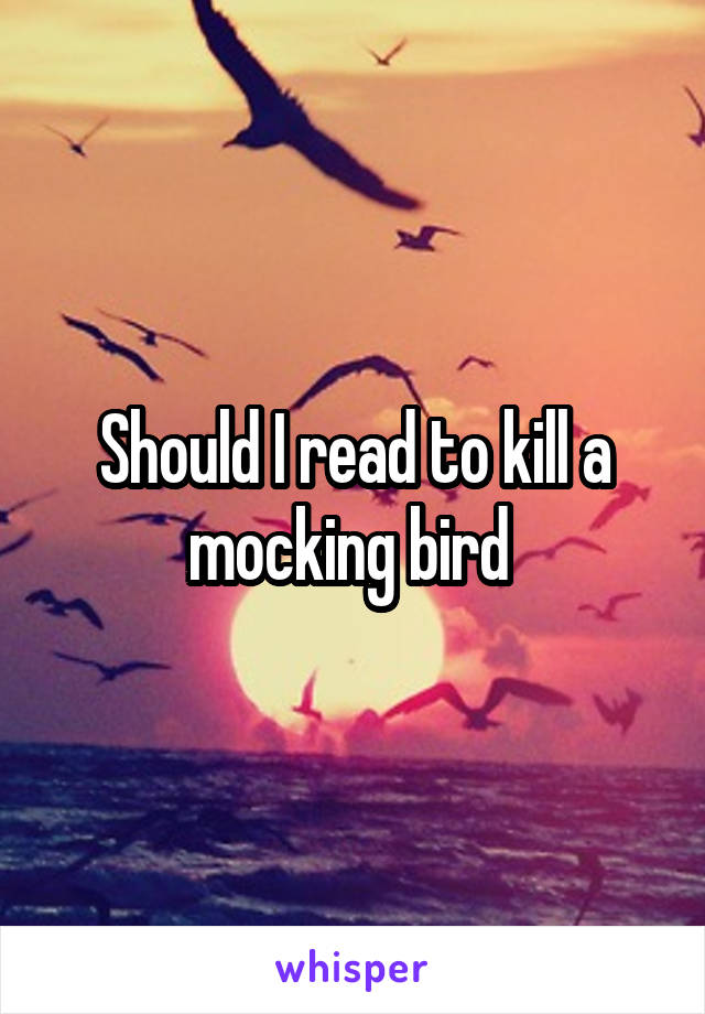 Should I read to kill a mocking bird