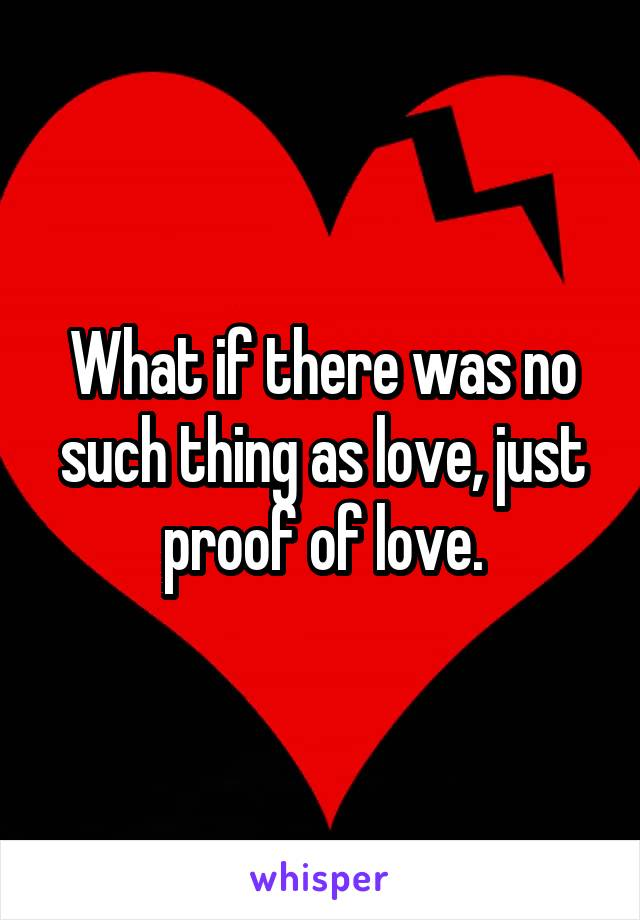What if there was no such thing as love, just proof of love.