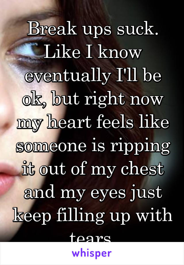 Break ups suck. Like I know eventually I'll be ok, but right now my heart feels like someone is ripping it out of my chest and my eyes just keep filling up with tears