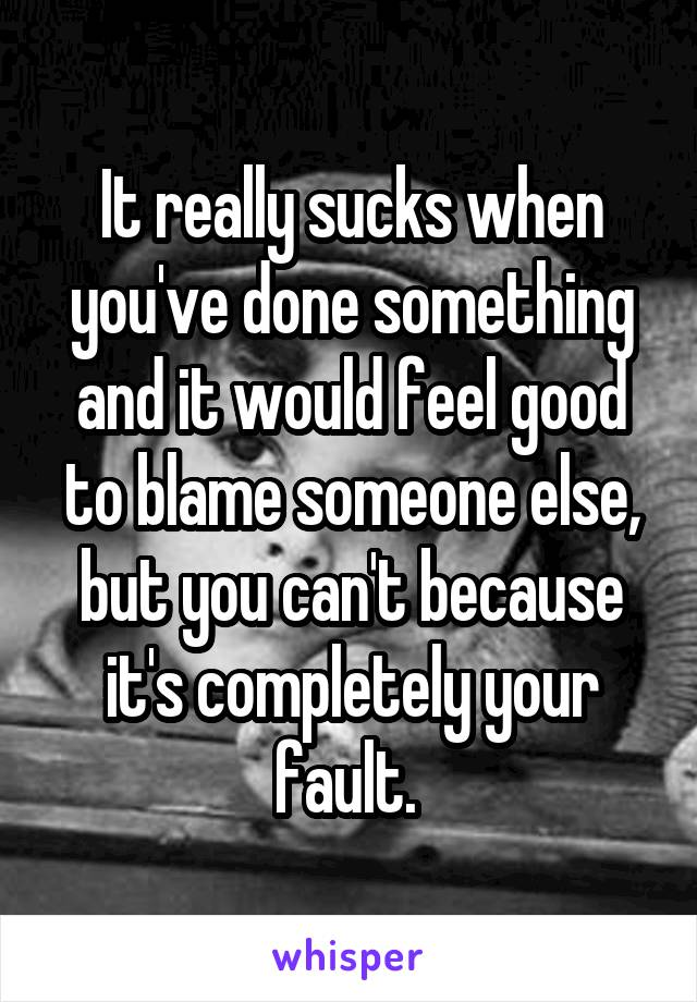 It really sucks when you've done something and it would feel good to blame someone else, but you can't because it's completely your fault.